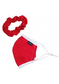 polka dot mask and scrunchie set in red