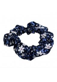 teen hair scrunchie in blue and white flower design print