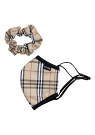 tartan plaid mask and hair scrunchie for kids