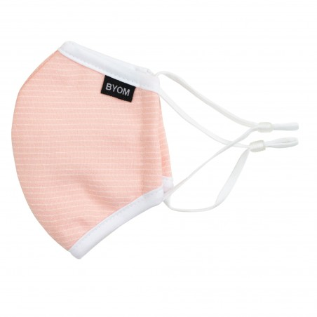 peach pink summer face mask for kids in washable cotton with filter