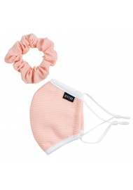 peach pink kids face mask and hair scruchie set in cotton