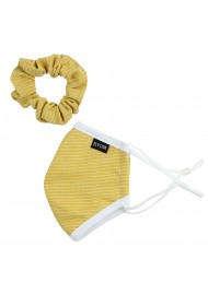 gold face mask for kids in cotton with scrunchie