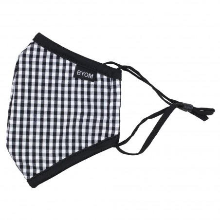 black gingham check kids mask in washable cotton