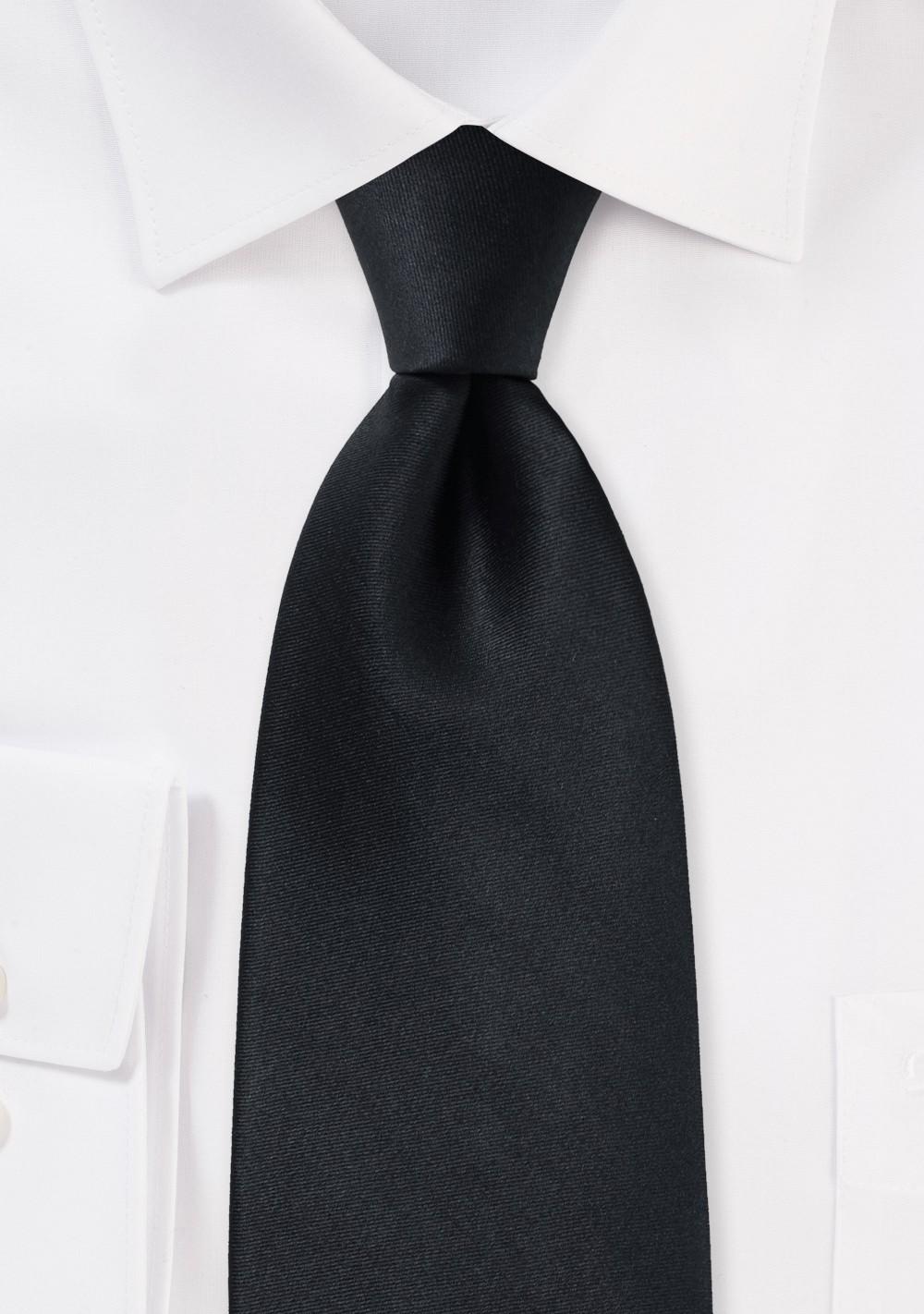 Solid Black Silk Necktie in XXL