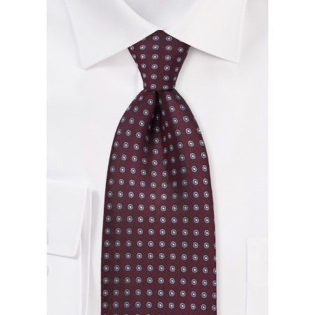 Maroon and Gray Dotted Tie