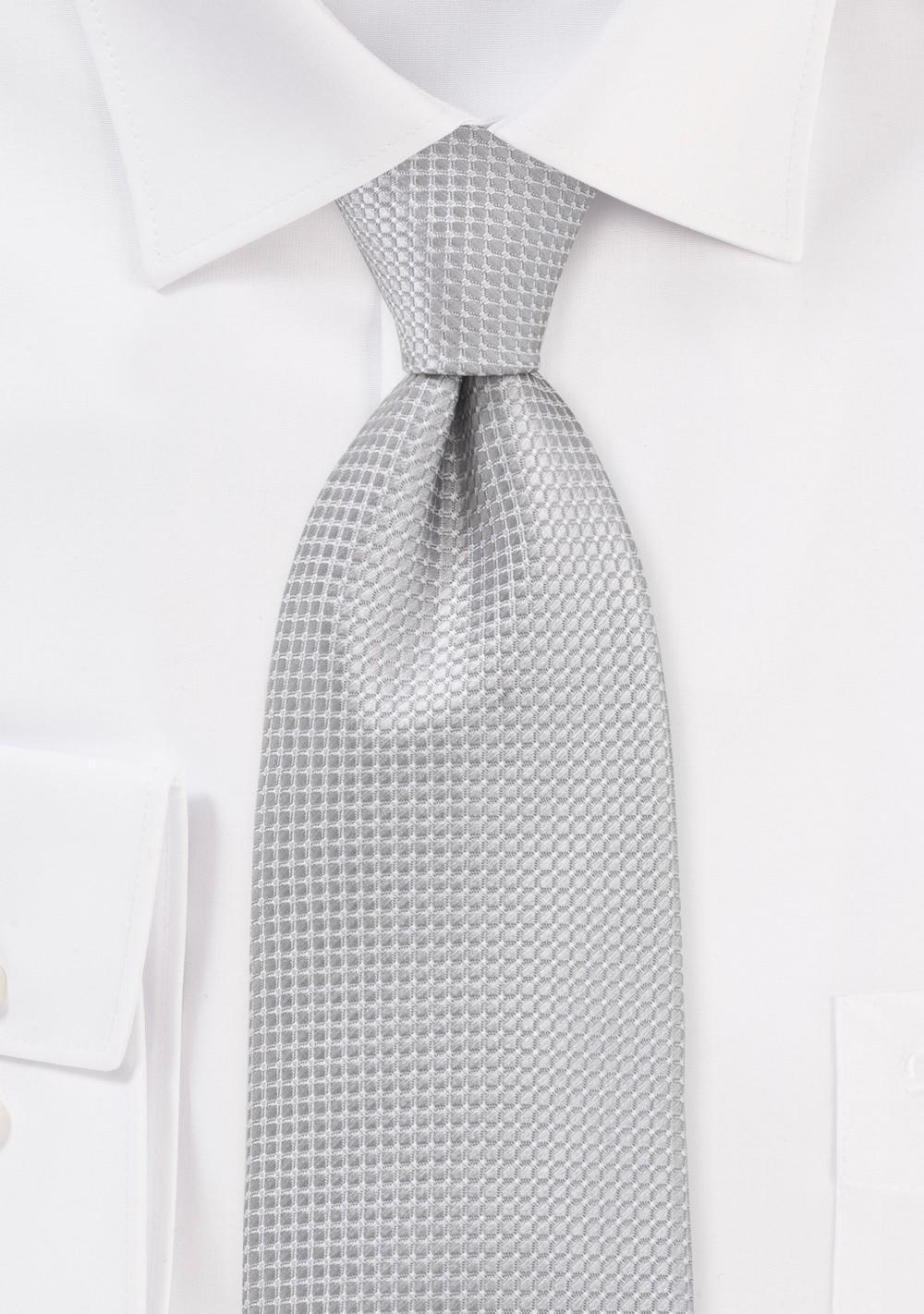 Textured Light Silver Tie