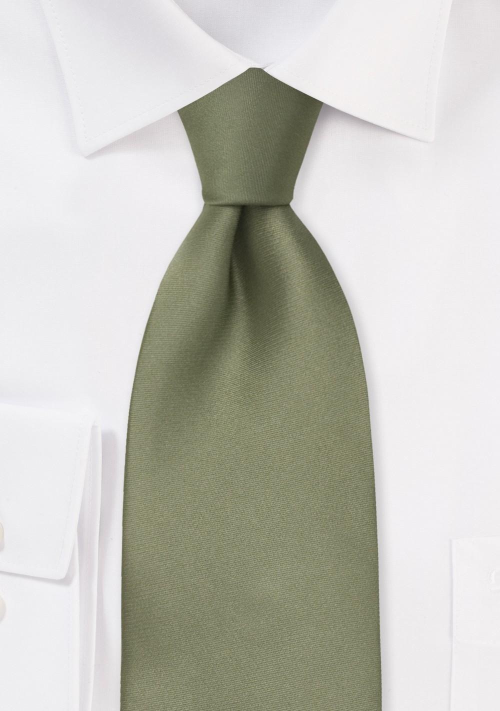 Dark Sage Green Silk Tie in XL