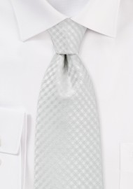 Micro Check XL Tie in Eggshell White
