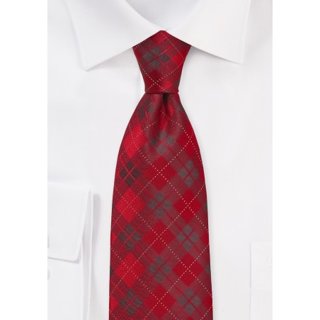 Apple Red Plaid Tie in Long Length