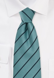 Striped Tie in Teal and Navy