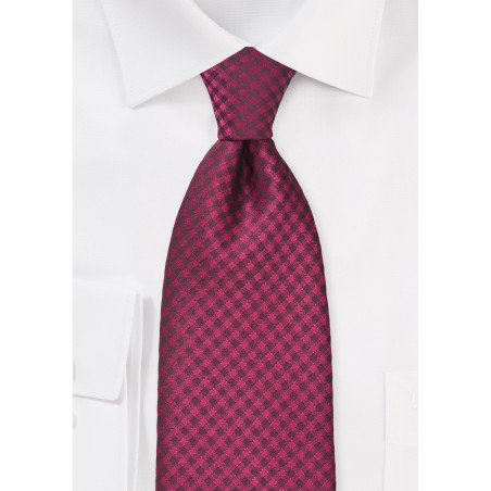 Guava Pink Gingham Patterned Tie