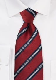 Regimental Striped Tie in Crimson