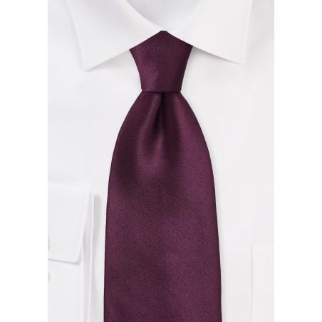 Solid Burgundy Silk Tie in XL