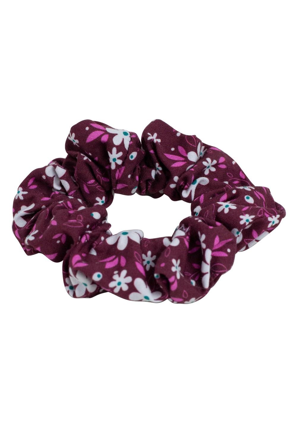floral scrunchie in burgundy