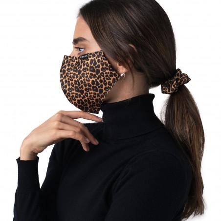 scrunchie mask set leppard print