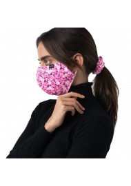 flower scrunchie and face mask in pink
