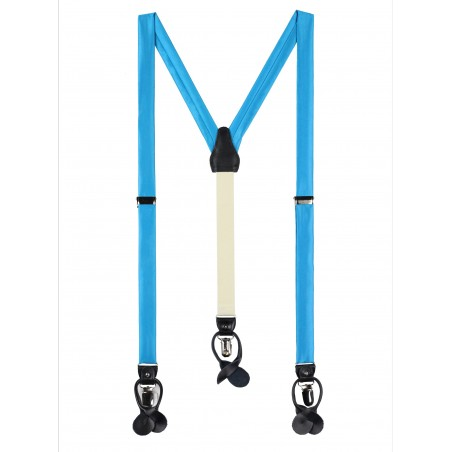Cyan Blue Satin Fabric Suspenders