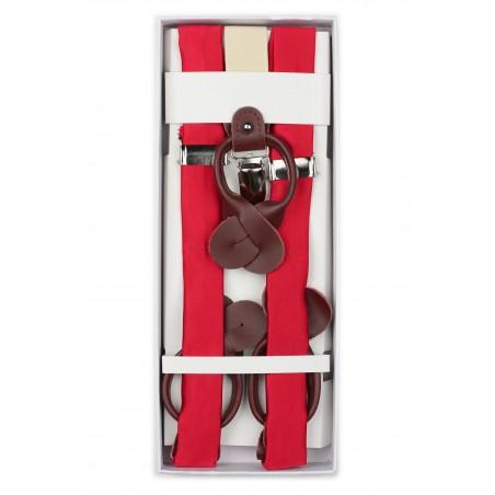 Bright Red Fabric Suspenders in Box