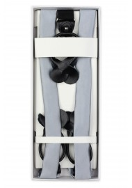 Light Silver Fabric Suspenders in Box