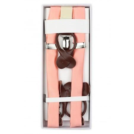 Solid Peach Pink Suspenders in Box