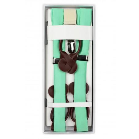 Bright Mint Green Summer Suspenders in Box