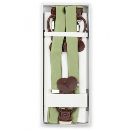 Light Sage Colored Suspenders in Box