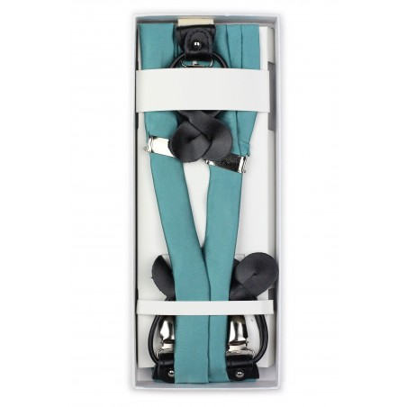 Teal Colored Fabric Suspenders in Box