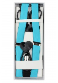 Bright Aqua Blue Suspenders in Box