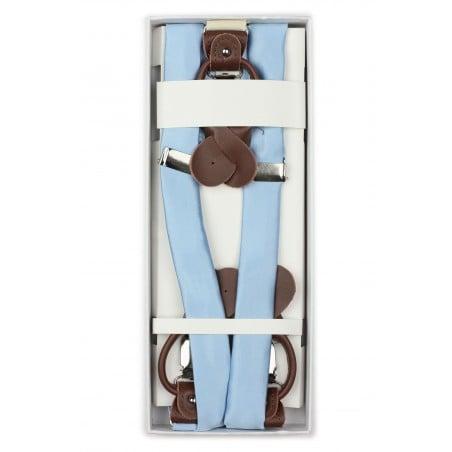 Light Blue Mens Fabric Suspenders in Box