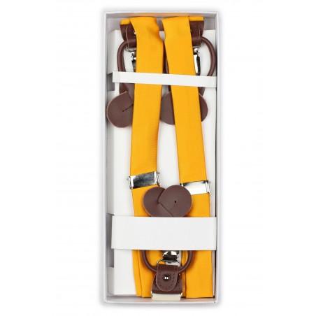 Golden Colored Mens Suspenders in Box
