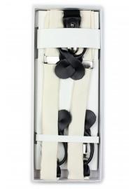 Light Cream Fabric Dress Suspenders in Box