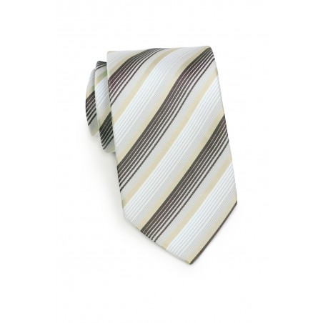 Striped Tie in Whites, Golds and Charcoals Rolled up