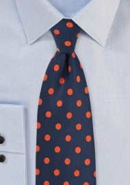 Navy and Orange Polka Dot Tie
