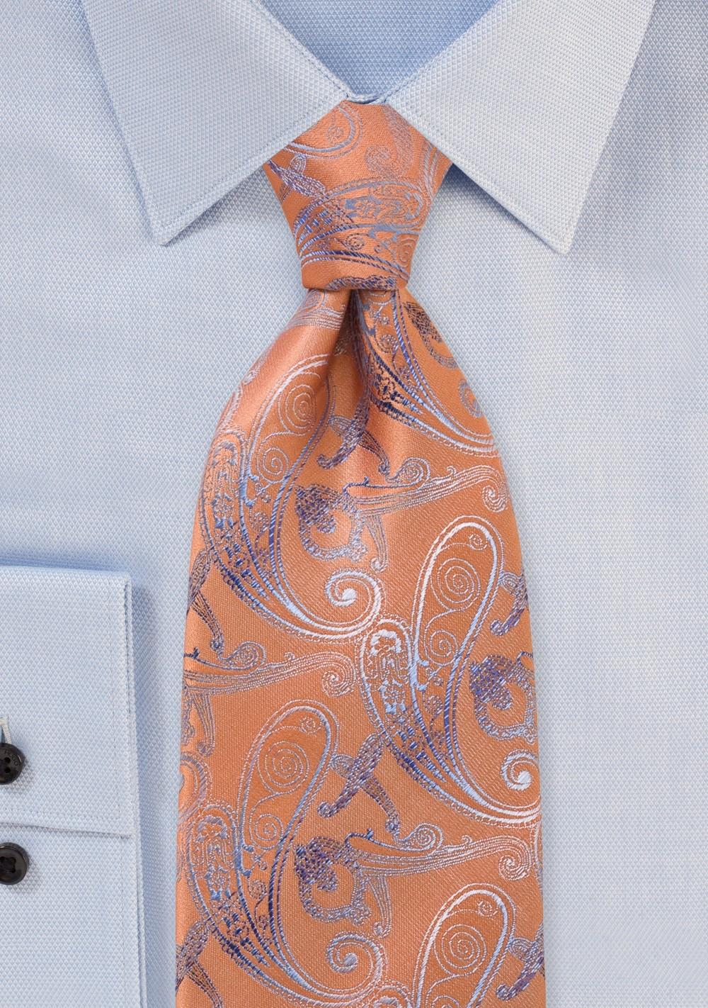 Tangerine Paisley Tie