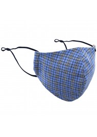 Blue Autumn Tartan Plaid Filter Mask