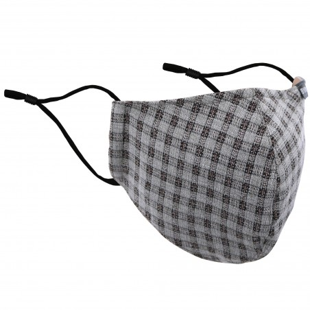 Beige, Gray, and Brown Checkered Filter Mask