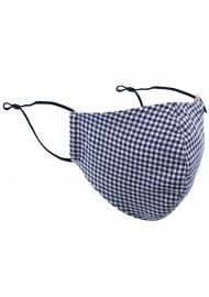 Textured Gingham Check Adjustable Face Mask in Navy and White