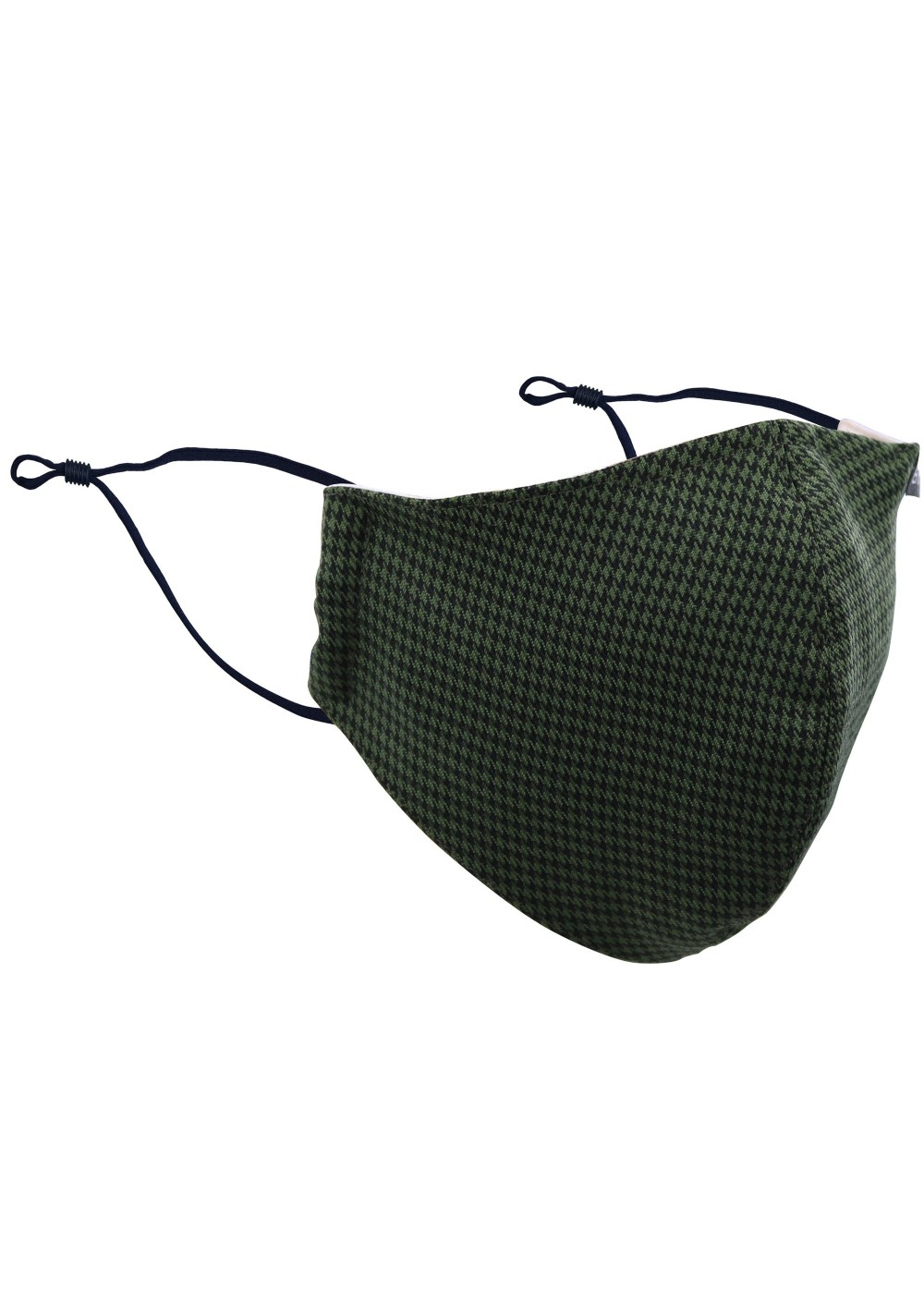 Hunter Green and Black Houndstooth Check Mask