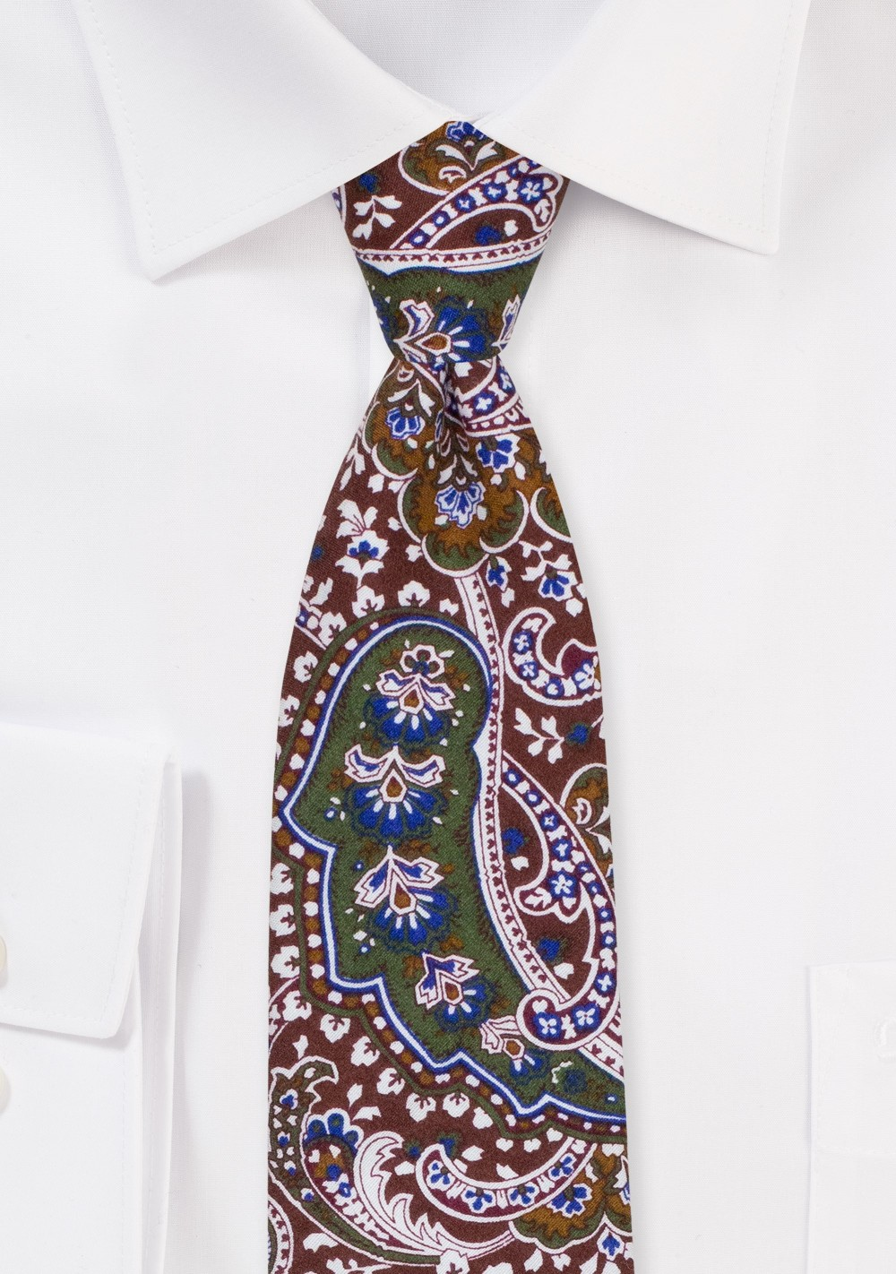 Cotton Paisley Tie in Dark Green and Brown