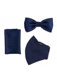 Pin Dot Bow Tie and Face Mask Set in Classic Navy