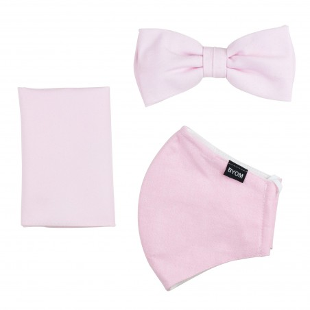 Soft Pink Mask and Bow Tie Set