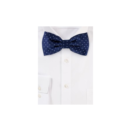Pin Dot Bow Tie in Navy Blue