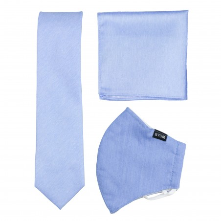 Sky Blue Mask and Tie Set