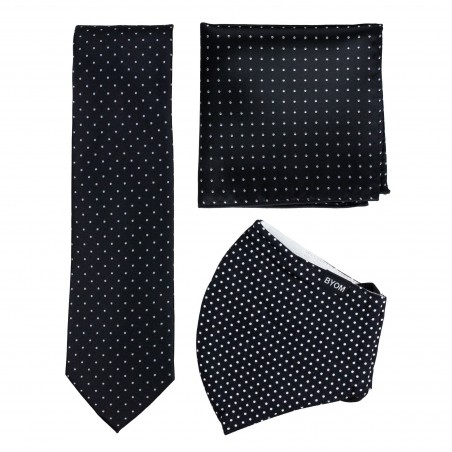 Black Pin Dot Mask and Tie Set