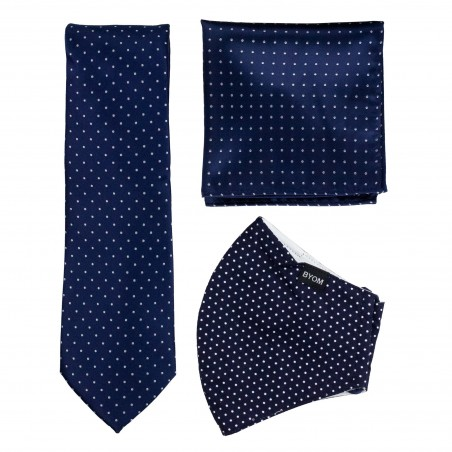 Pin Dot Tie and Mask Set in Classic Navy