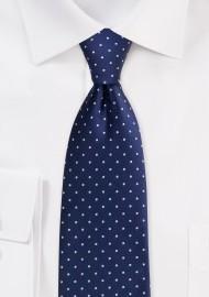 Pin Dot Necktie in Navy Blue