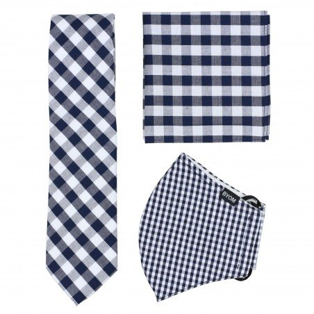 Navy and White Gingham Check Mask and Tie Set