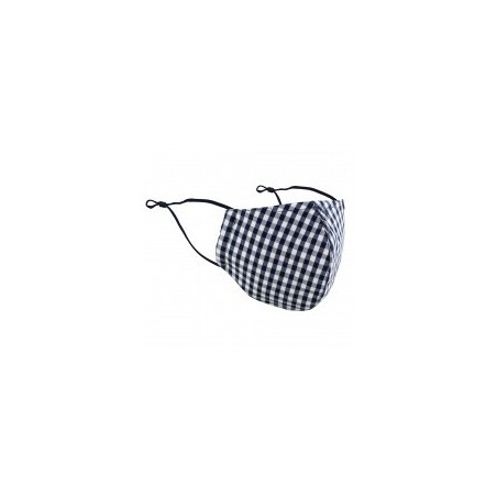 Navy and White Gingham Check Mask