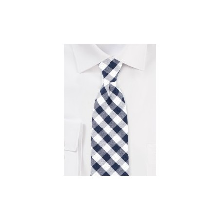 Navy and White Gingham Check Necktie