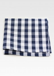 Navy and White Gingham Check Pocket Square Hanky